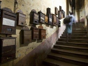 Mailboxes in stairs, Calcutta Kolkata India